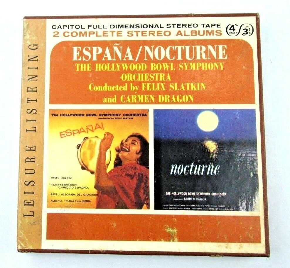 Hollywood Bowl Symphony Espana/ Nocturne Reel to Reel Tape, 4 Track 3 3/4 IPS - fazoom