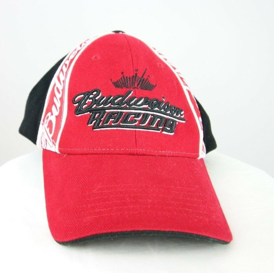 Bud King Racing Baseball Cap Budweiser Black And Red Hat Original 100% Cotton - fazoom
