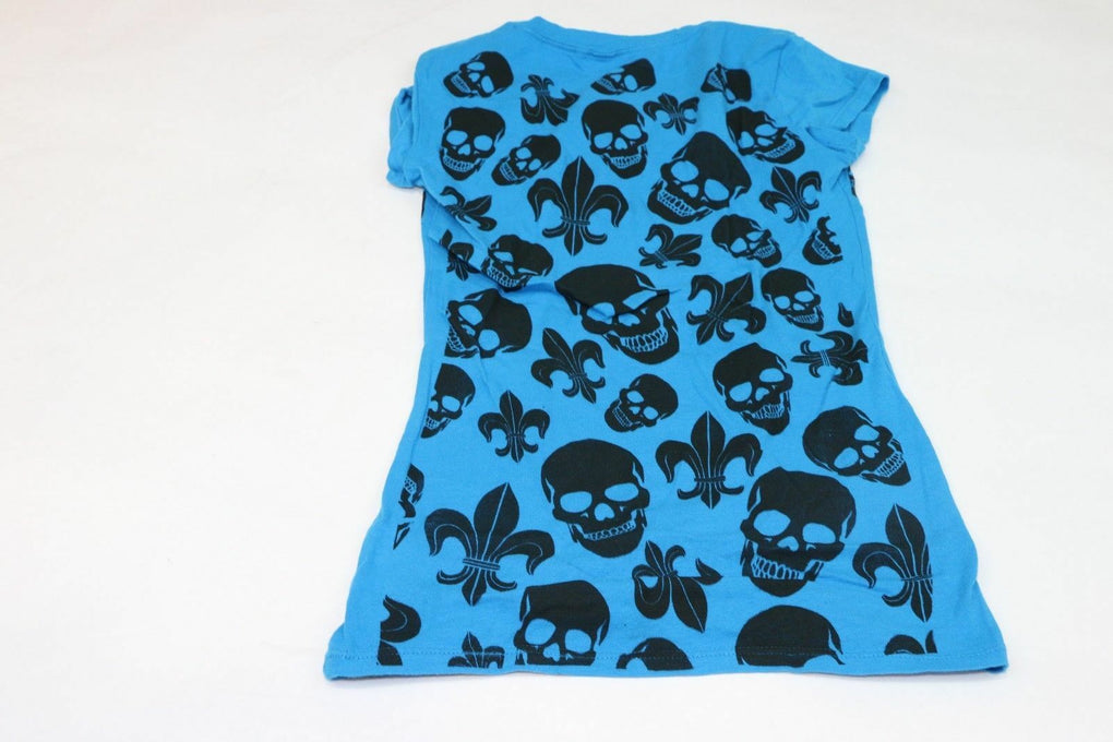 NEW ORLEANS VOODOO Womens Bedazzled Skulls T-Shirt Mardi Gras Blue Size S - fazoom