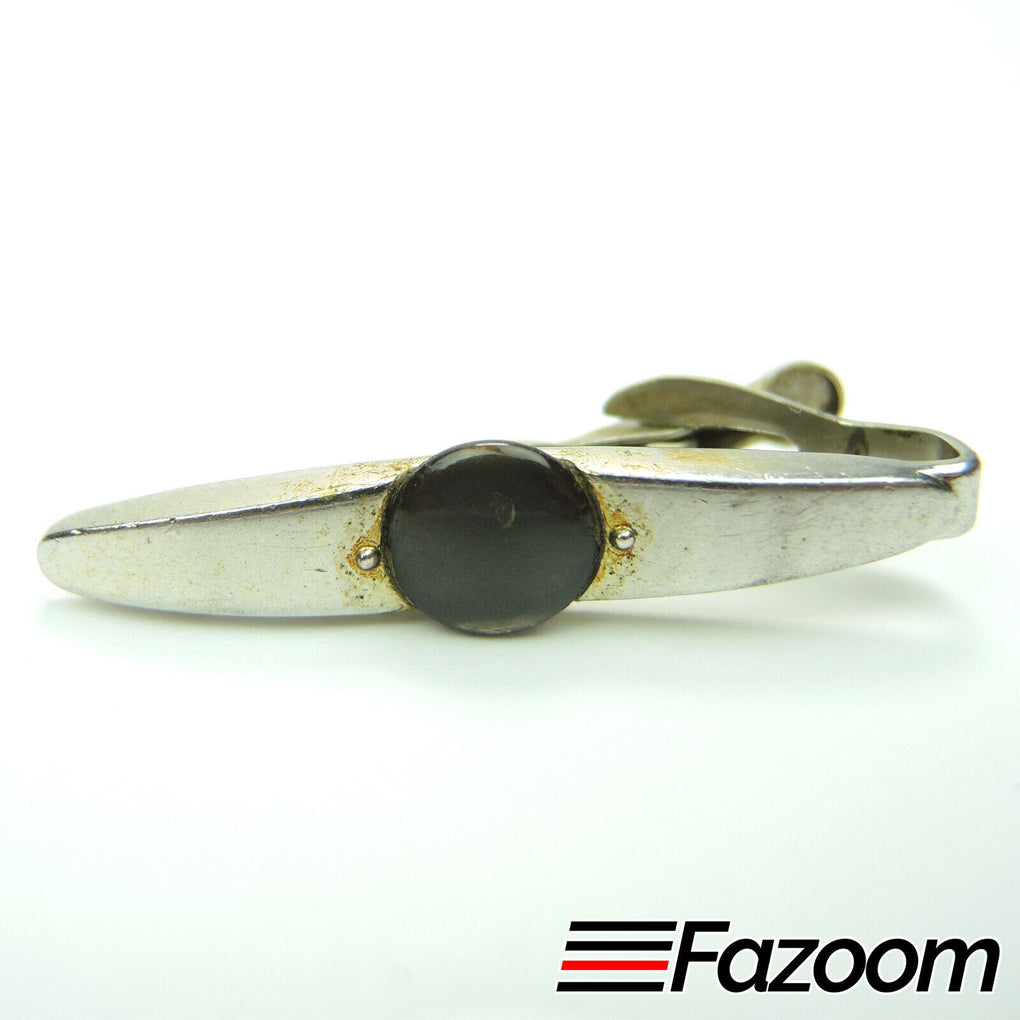 Swank Vintage Silver-Tone Round Embellishment Tie Bar Clip - Fazoom