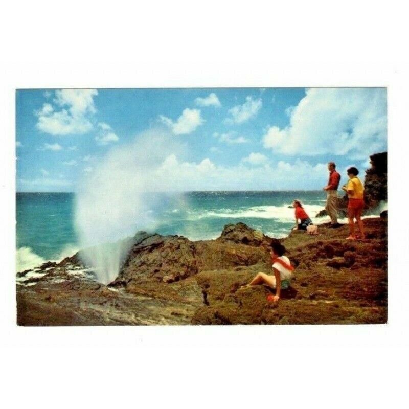 The Blow Hole Oahu Hawaii Postcard S-147 Red Eagle Airmail 5-Cent Stamp - Fazoom