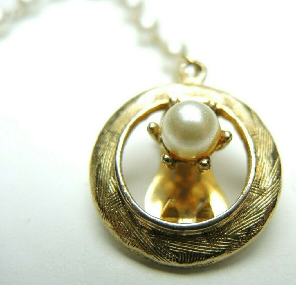 Sweater Clip Guard Gold Tone Metal Faux Pearl Chain Accessory Vintage - Fazoom