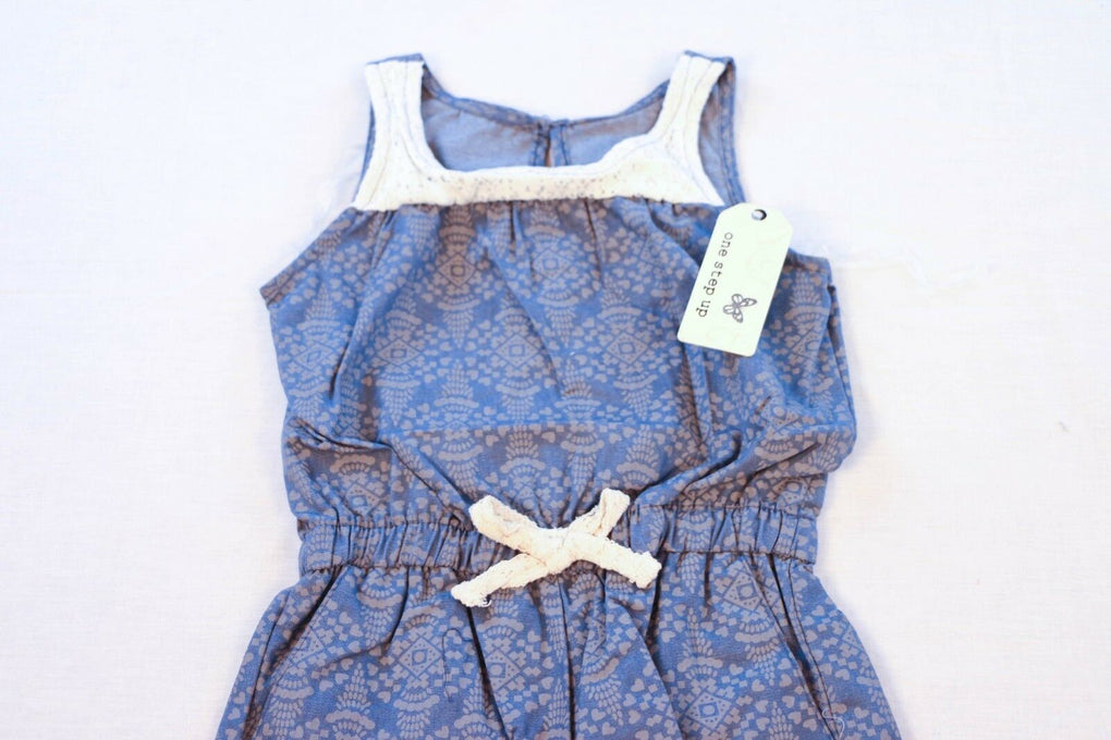 One Step Up Toddler Girls' Printed Chambray Romper, Chambray/Coconut, 4T - Fazoom