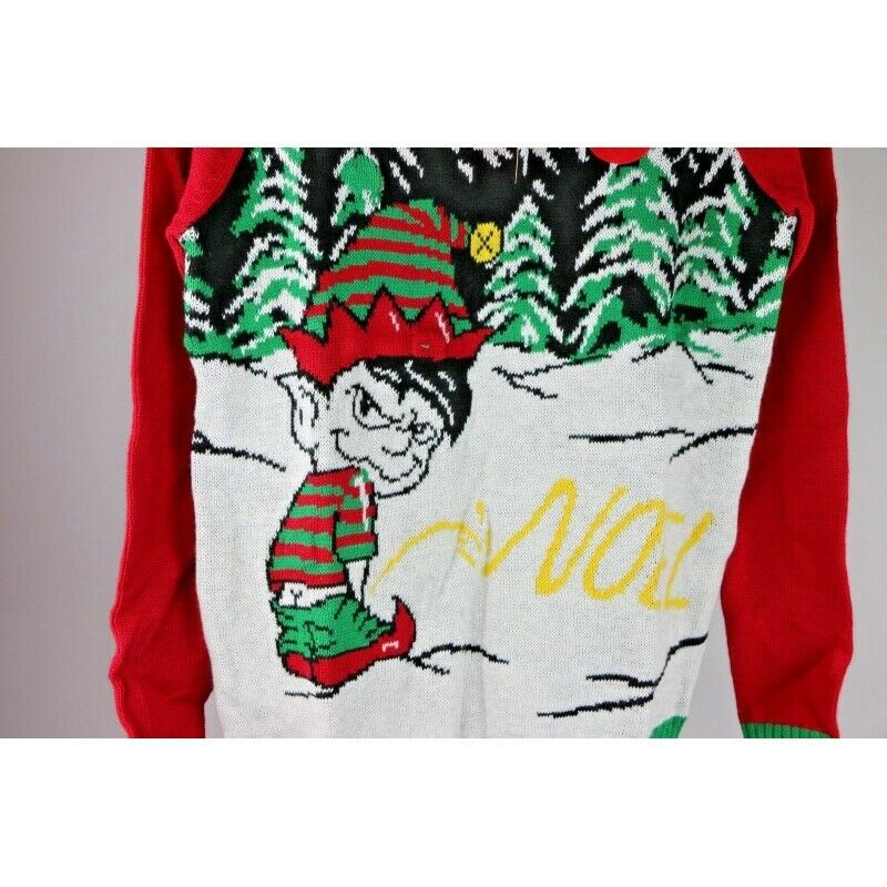 Ugly Christmas Sweater: Elf Peeing Noel in the Snow, Lights Up - Size Small - fazoom