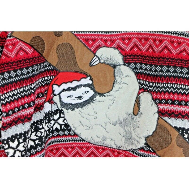 Ugly Christmas Sweater: Sloth in Tree with Santa Hat - Size XL - Fazoom