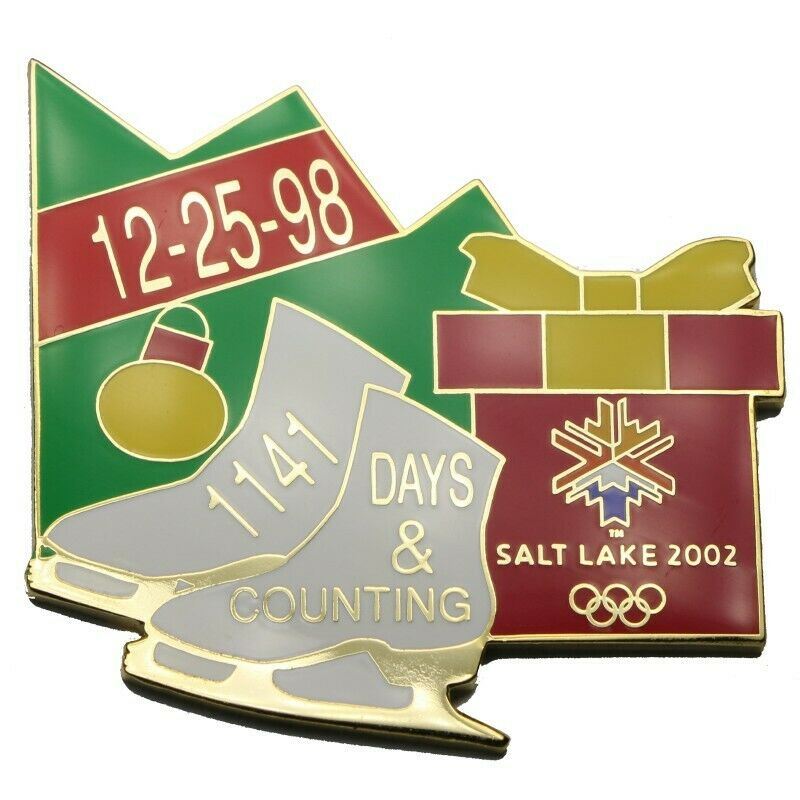 2002 Salt Lake City Winter Olympics 1141 Days Countdown Christmas 1998 Lapel Pin - Fazoom