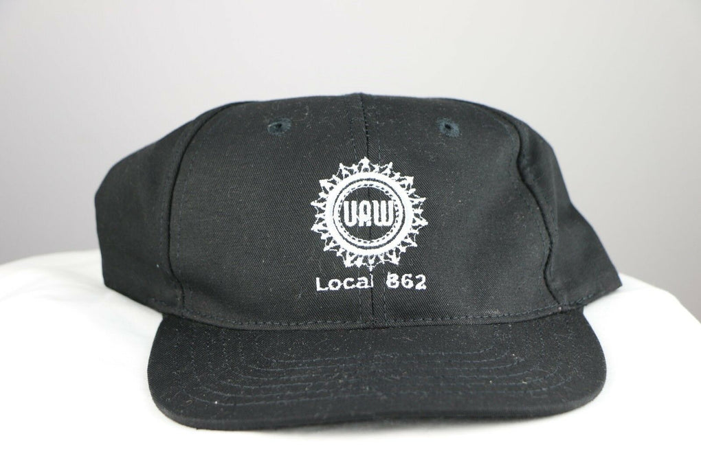 UAW United Auto Workers Union Local 862 Black Adjustable Strapback Hat Cap - fazoom
