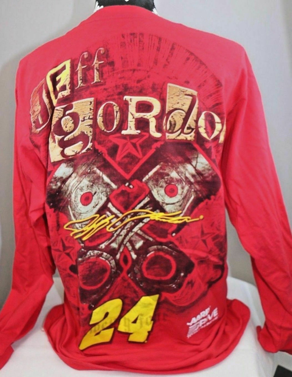 Jeff Gordon Chase Authentics 24 Red Long Sleeve Graphic Shirt 2Sided NASCAR L - Fazoom