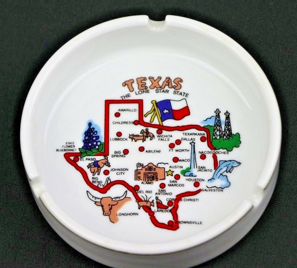 State of Texas Souvenir White Ceramic Ashtray Lone Star State - fazoom