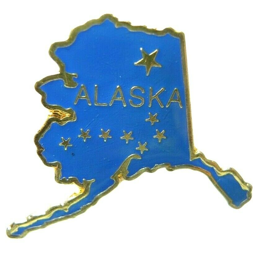Alaska State Outline Blue Gold Tone Lapel Pin - fazoom