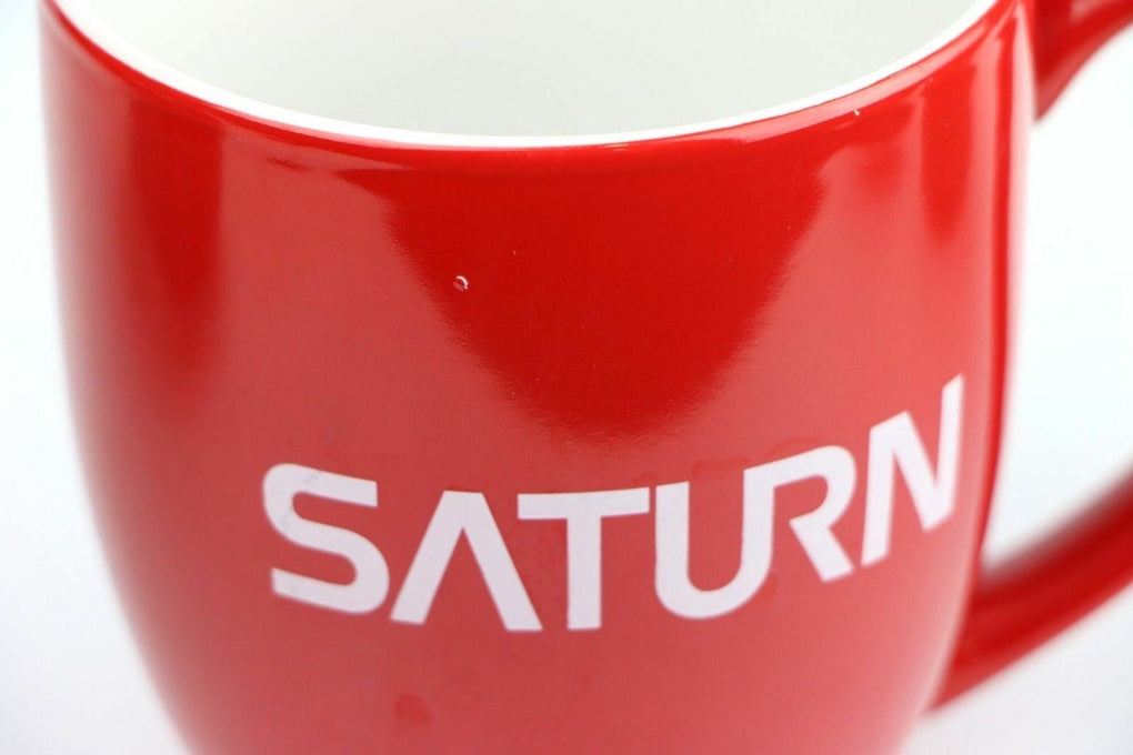 Saturn Car Auto Logo Graphic Vintage Red Ceramic Coffee Mug w/ Paint Nick - Fazoom