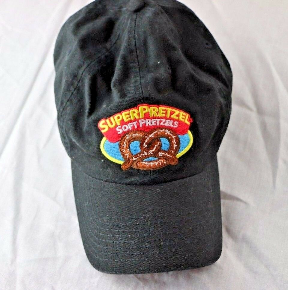 Super Pretzel Black Strap Back Baseball Hat Cap SuperPretzel Vendor - fazoom