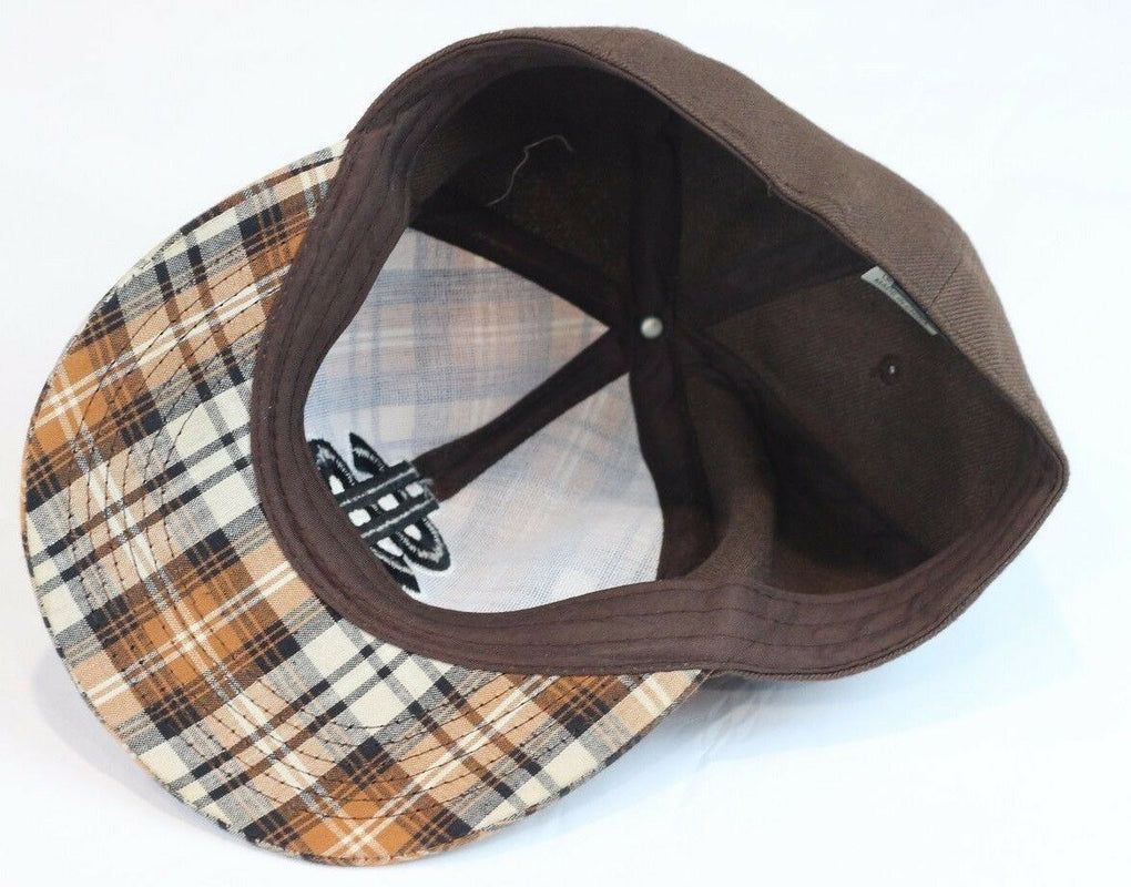 Dollar Sign Fitted Brown Plaid Hat Size 6 3/4 56cm - fazoom