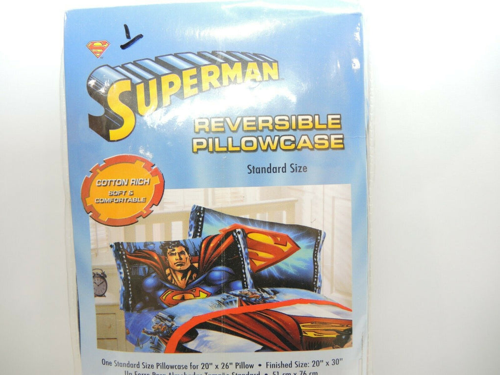 Superman Fly High Reversible Pillowcase Standard Size ~ Franco ~ NOS - fazoom