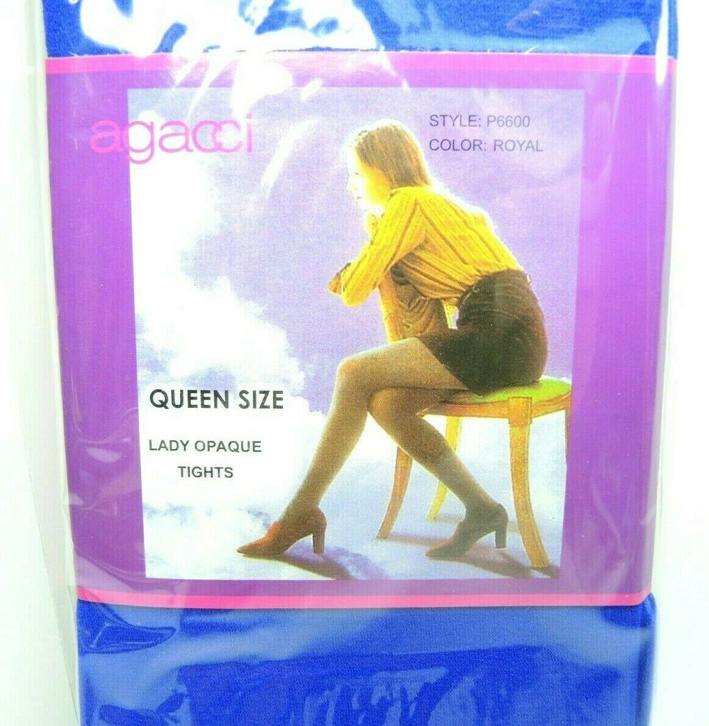 Agacci Women's Opaque Tights Royal Blue Queen Size 165-240 lbs - fazoom