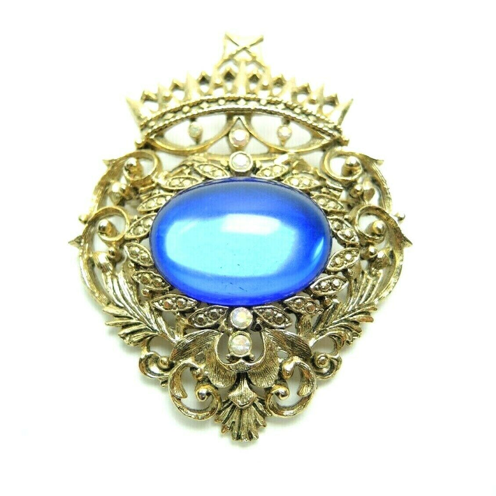 Crest Faux Blue Gem 2.5-inch Vintage Unsigned Gold-Tone Brooch Lapel Pin - Fazoom