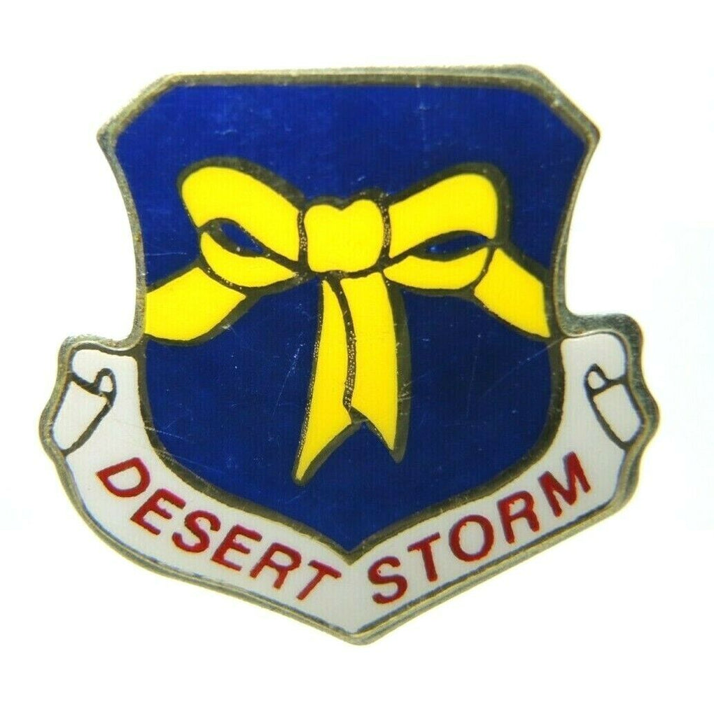 Desert Storm Shield Ribbon Gold Tone Lapel Pin - Fazoom