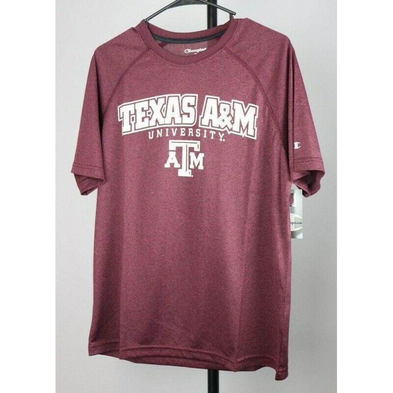Texas A&M Aggies NCAA Adult Champion T-Shirt, Color Maroon Heather, Size Medium - Fazoom