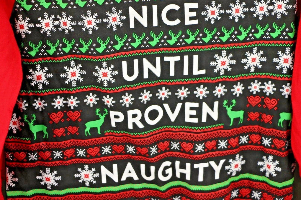 Nice Until Proven Naughty ~ Wound Up Junior Girls Christmas T-Shirt , Size Large 11-13 - Fazoom