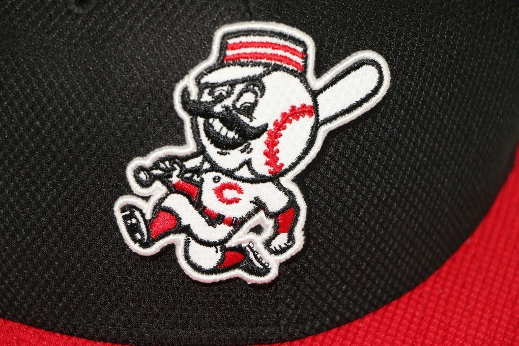 Cincinnati Reds Mascot New Era MLB Black Fitted Cap Hat Size 8 63.5cm - fazoom
