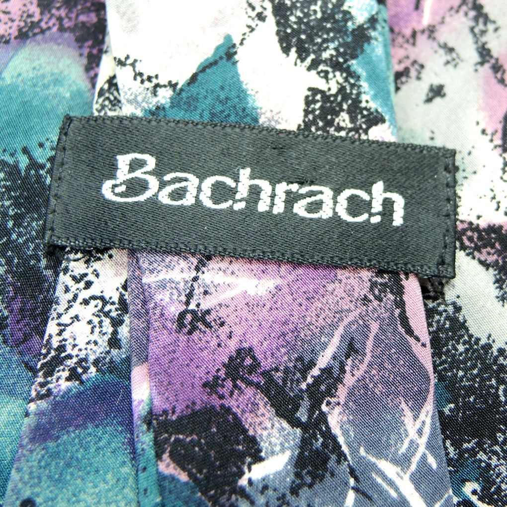 Bachrach Abstract Traditional Silk Necktie ~ Purple - Fazoom