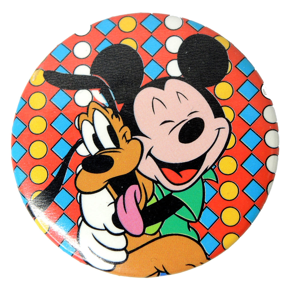 Disney Mickey Mouse & Pluto Vintage 1.75-inch Round Button