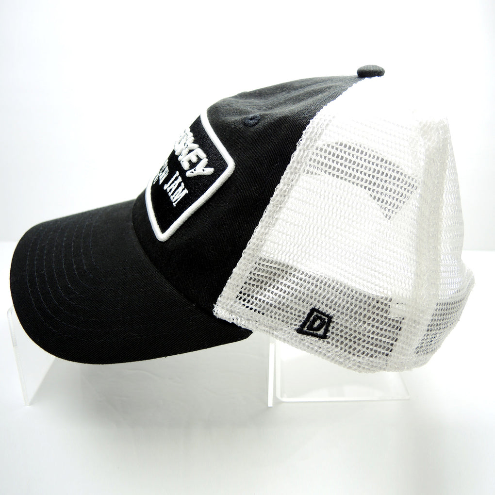 Whiskey Jam Nashville Tennessee Cotton & Mesh Hat ~ Black & White Snapback - Fazoom