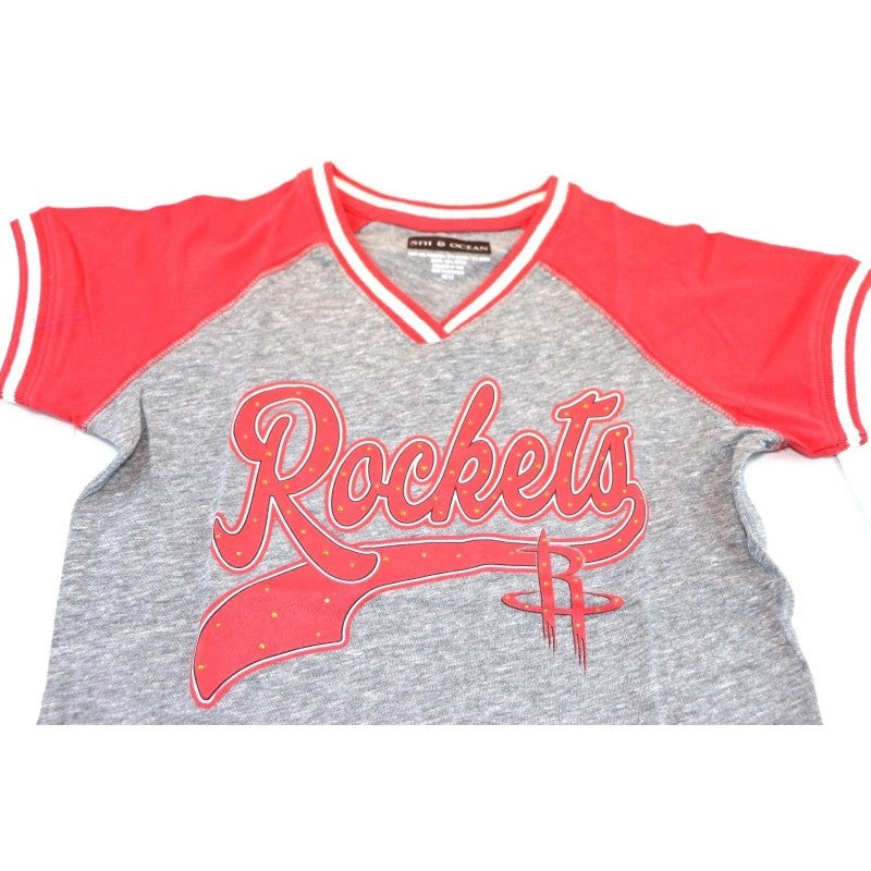 Houston Rockets NBA Girls Youth 5th & Ocean V Neck T-Shirt (Large 10/12) - Fazoom