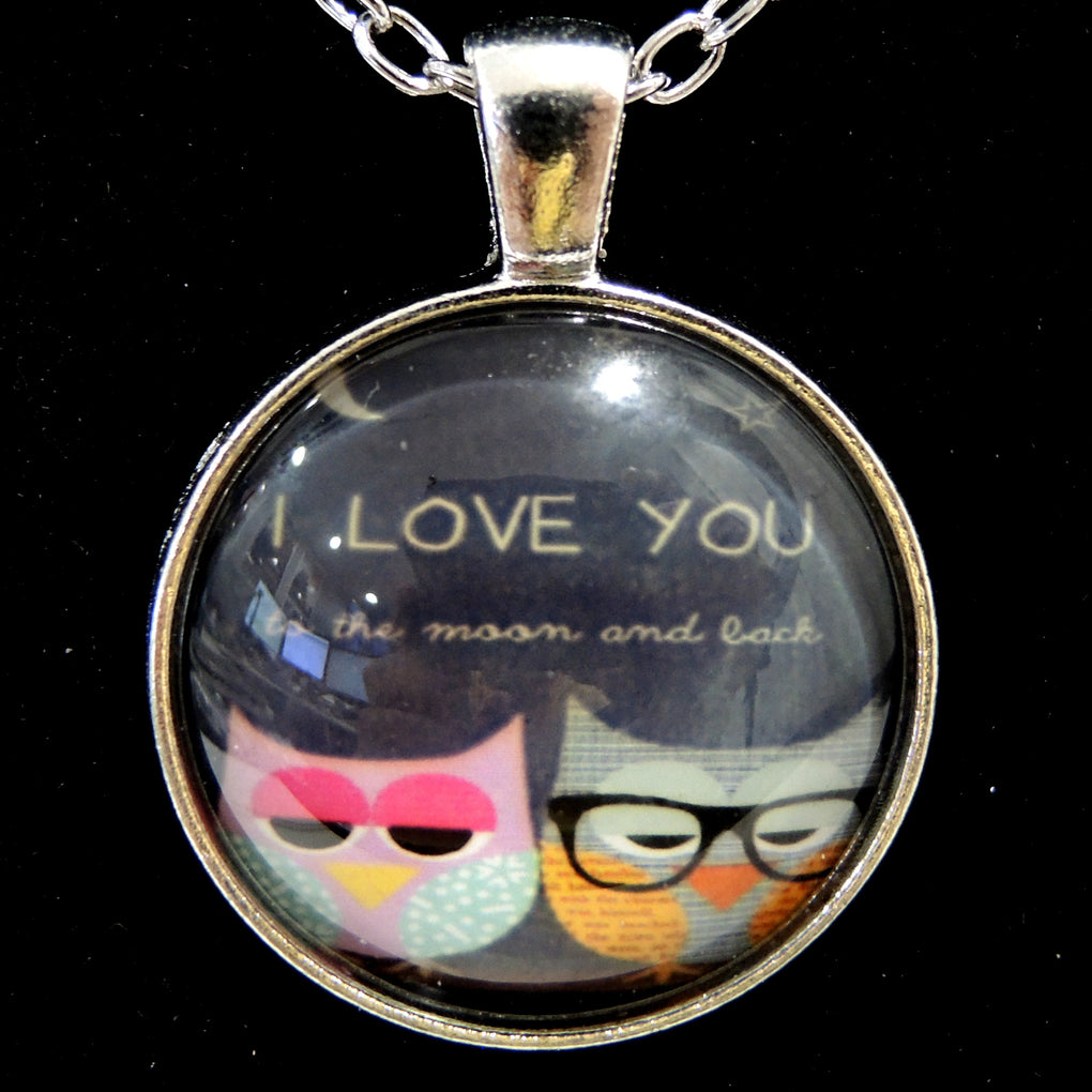 I Love You To The Moon and Back Owls ~ Silver Tone 19