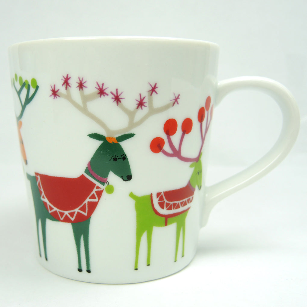 Jenny Bowers Crate and Barrel Christmas Coffee Mug ~ 7 oz ~ 2014 - Fazoom
