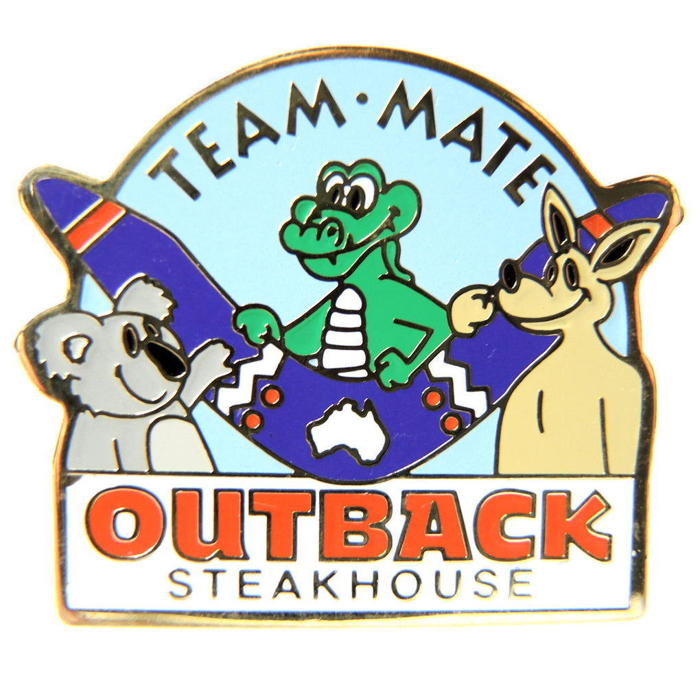 Outback Steakhouse Team Mate Light Blue Background Lapel Pin