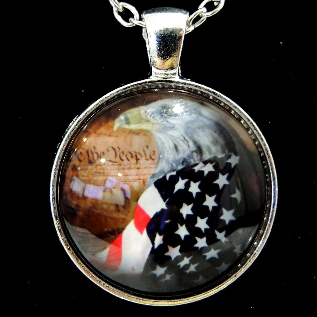 Patriotic Bald Eagle (Design 13) ~ Silver Tone 19