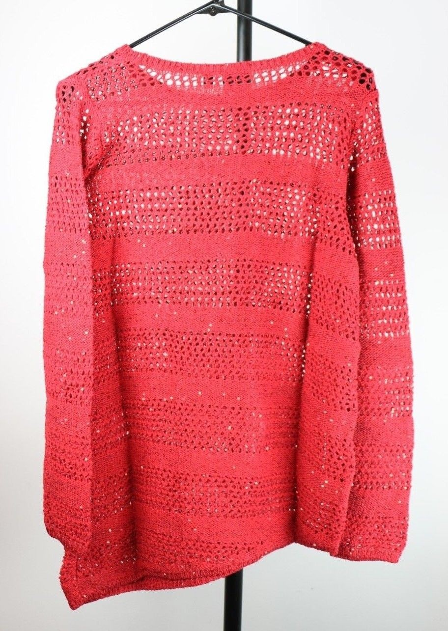 Rafaella Women's Open Stitched Sweater (Large, Ruby Red) - Fazoom