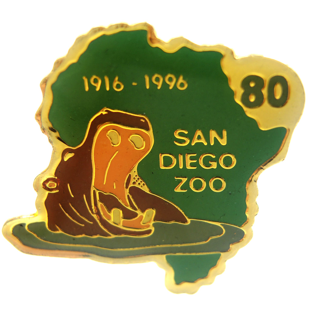 San Diego Zoo Hippo 80th Anniversary 1916-1996 Lapel Pin