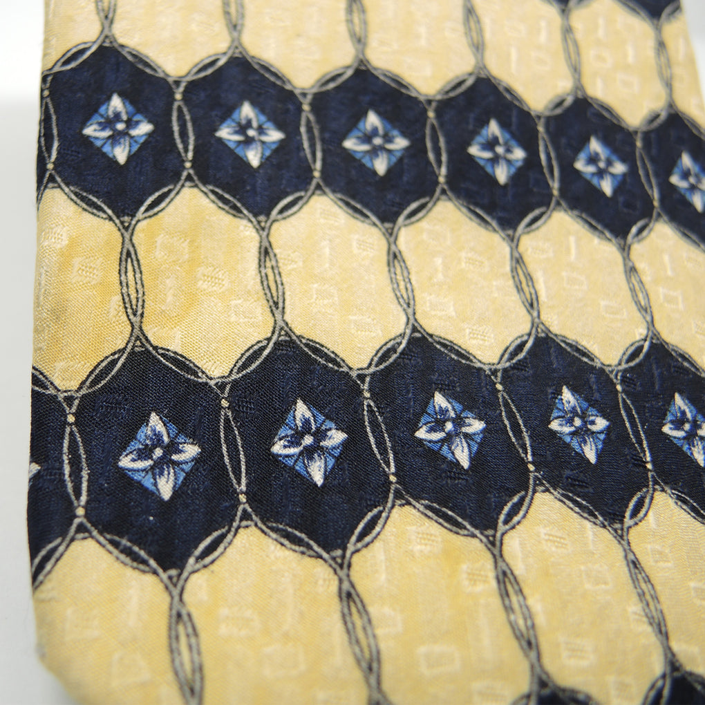 Savile Row Geometric Entwined Ovals Traditional Silk Necktie ~ Yellow - Fazoom