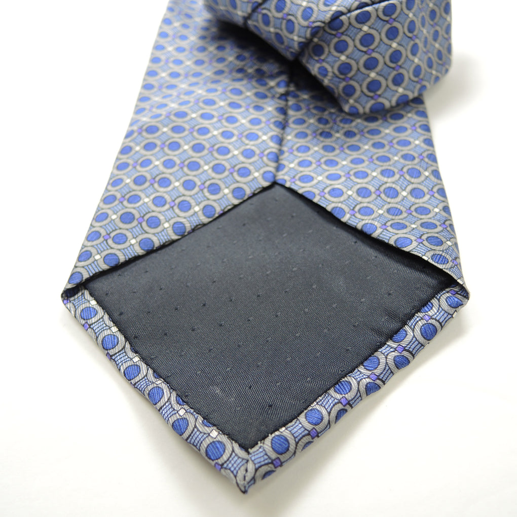 Stafford Executive Geometric Small Circles Traditional Silk Necktie ~ Blue - Fazoom