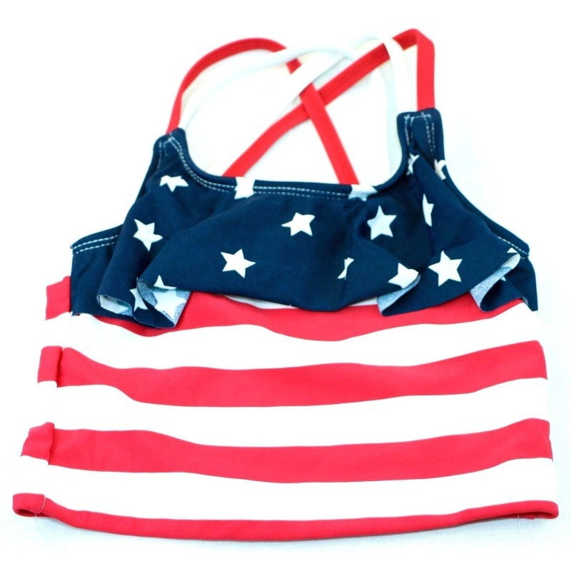 The Children's Place Baby Girls Toddler Her Li'l Americana Tankini (3T, Tidal) - Fazoom