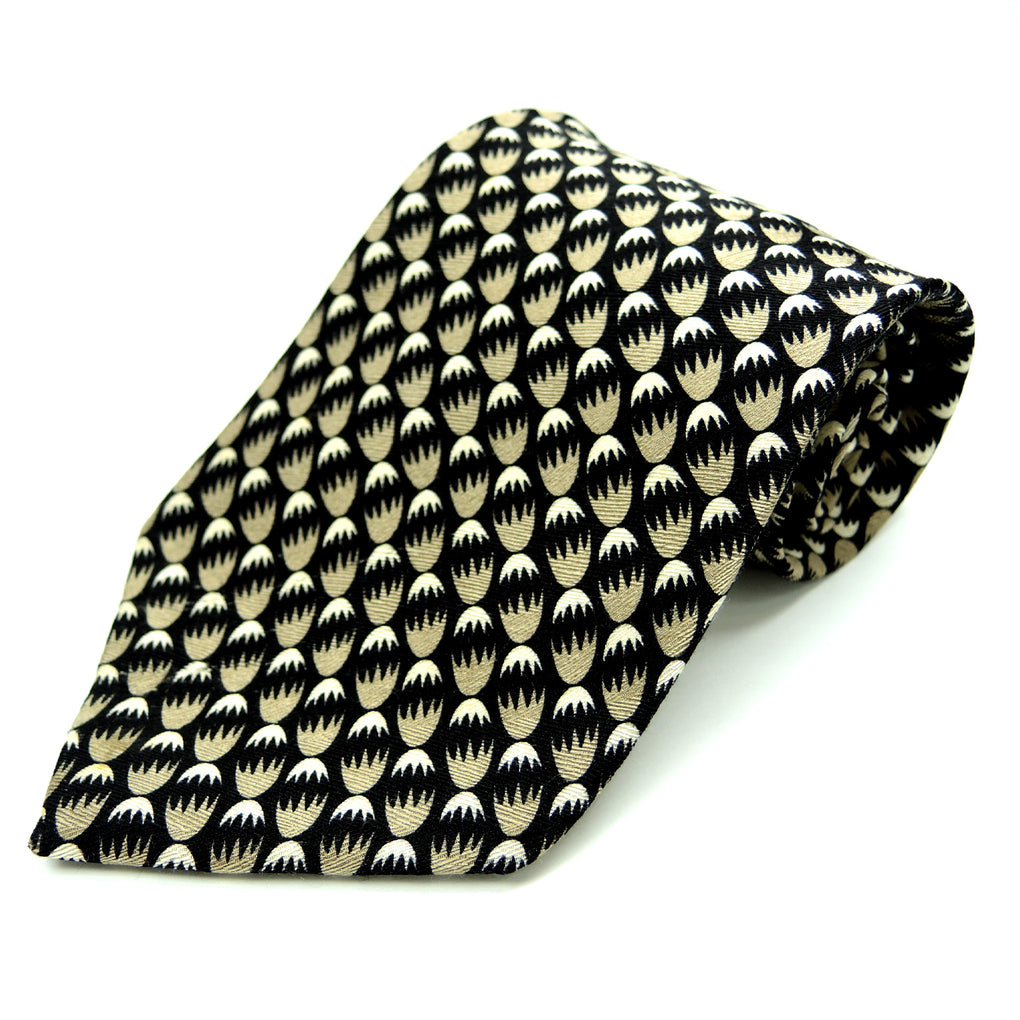 Tongue Tied Tom McLellon Abstract Eggs Traditional Silk Necktie ~ Black, Gold - Fazoom