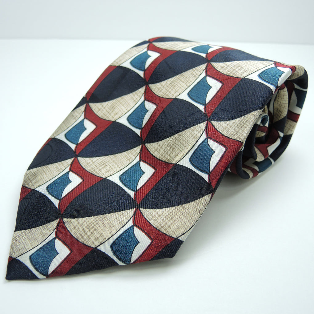 Towne Square Abstract Shapes Traditional Silk Necktie ~ Navy Blue, Maroon - Fazoom