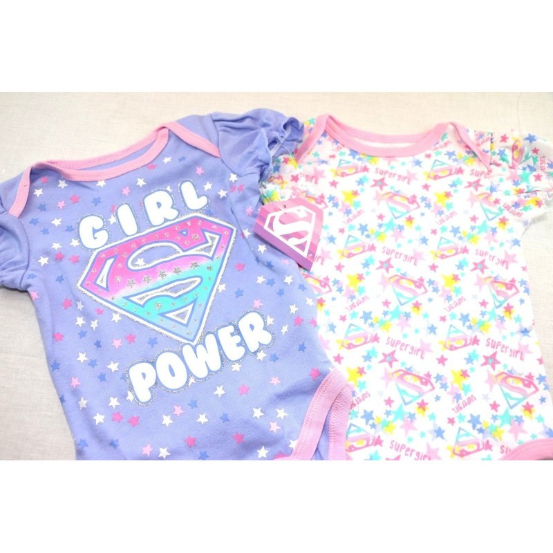 Warner Brothers, Baby Girls Supergirl 2 Pack Bodysuit (3/6 mo, Blue) - Fazoom