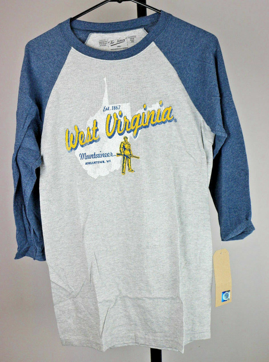 West Virginia Mountaineers 3/4 Baseball T-Shirt (Small, Heather/Navy) - Fazoom