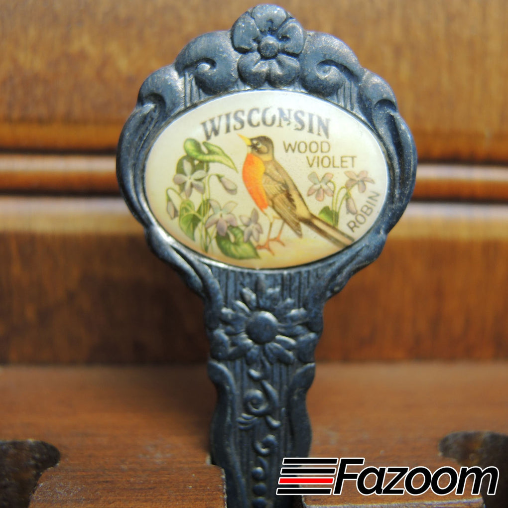 Wisconsin Wood Violet Flower & Robin State Bird Souvenir Collectible Silverplated Spoon by Celest - Fazoom