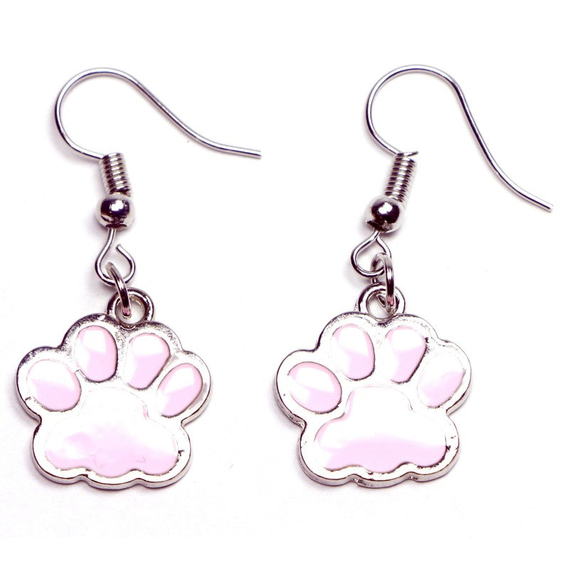 Dog Paw Drop Earrings, White - fazoom
