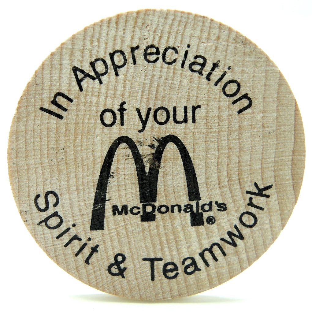 McDonald's Wooden Nickel ~ Spirit and Teamwork - Fazoom