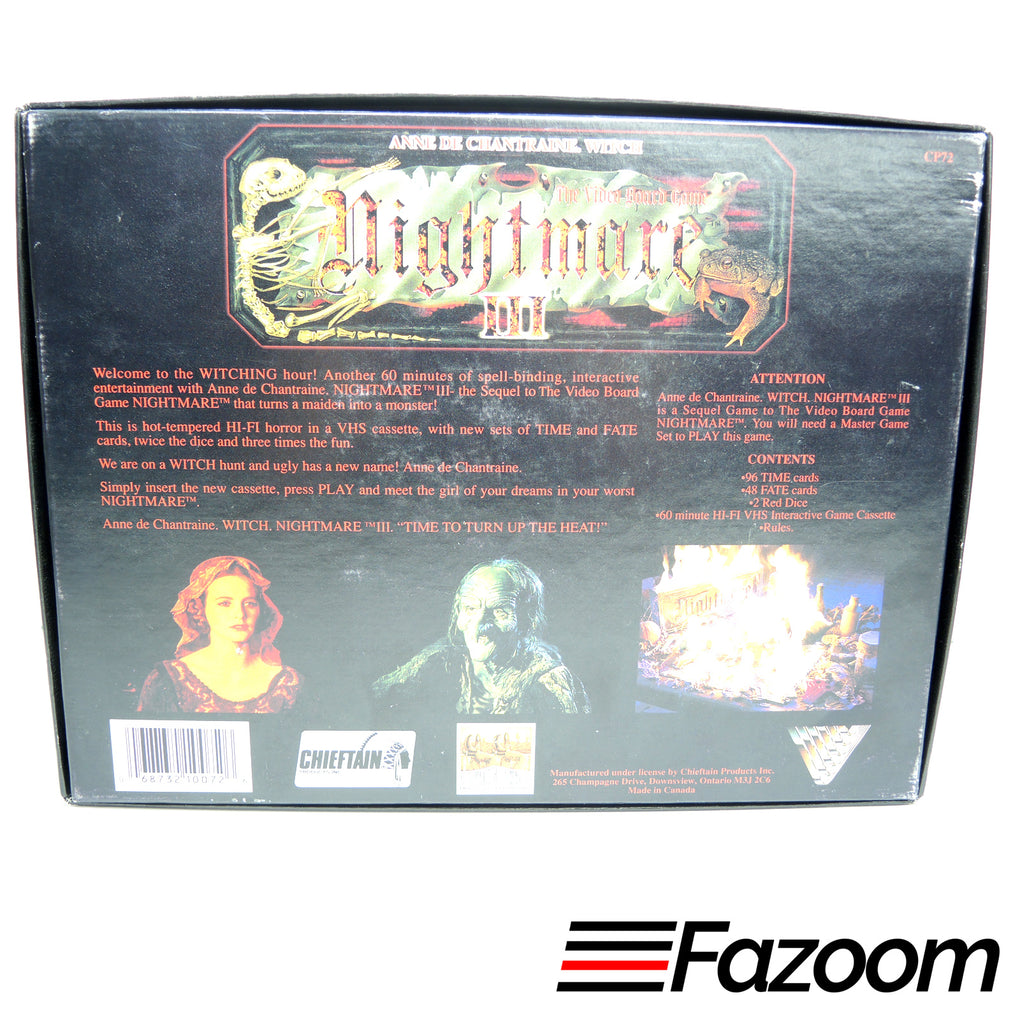 Nightmare III 3 VHS Video Board Game Sequel ~ Anne De Chantraine Witch - Fazoom
