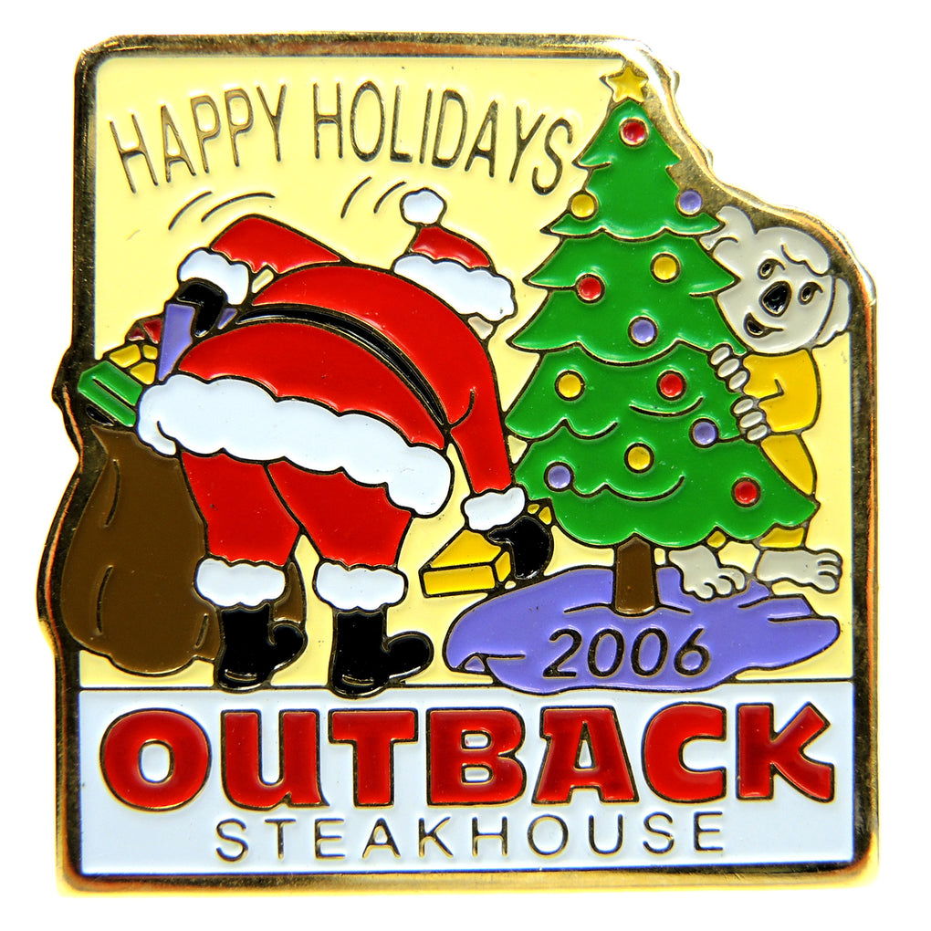 Outback Steakhouse Christmas Happy Holidays 2006 Lapel Pin - Fazoom