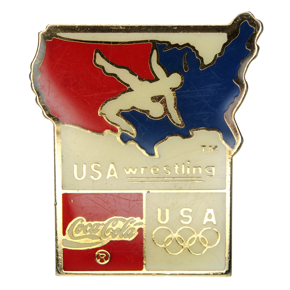 Summer Olympic Games Coca-Cola USA Wrestling Sponsor Lapel Pin