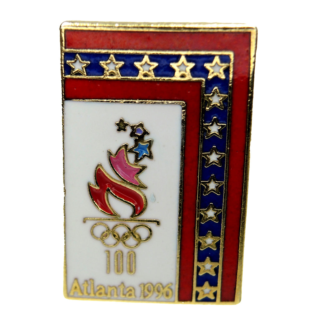 Atlanta 1996 Summer Olympic Games Patriotic Rectangle Torch Lapel Pin 4226865