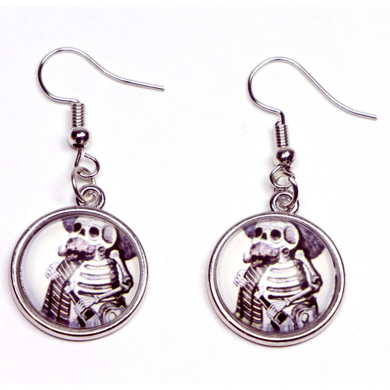 Skeleton With Bottle Round Drop Earrings - Fazoom