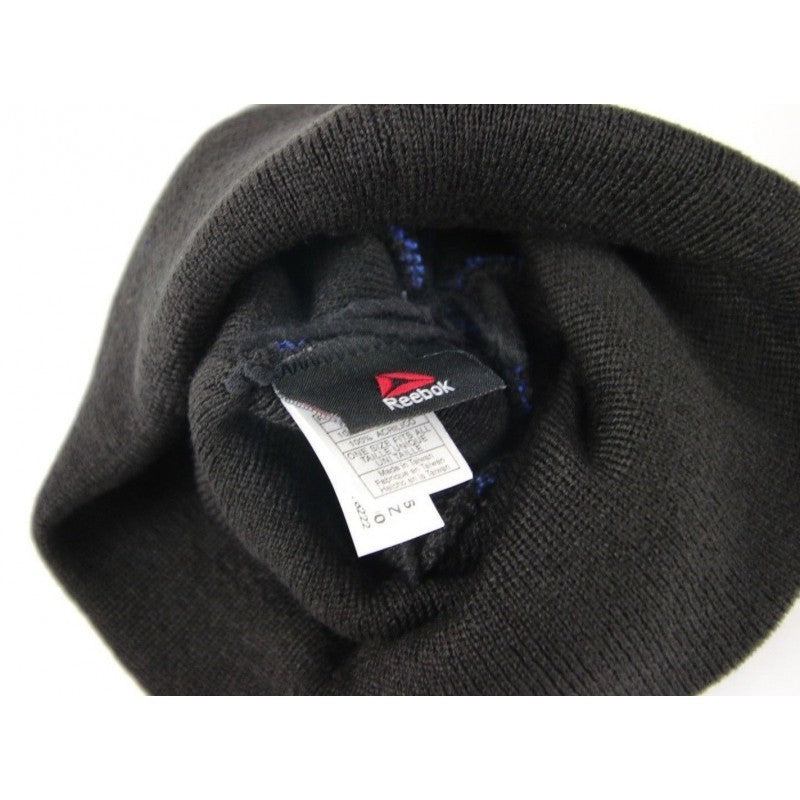 UFC Out of Stripes Cuffed Pom Knit Reebok Beanie Hat Stocking Cap One Size Black - fazoom